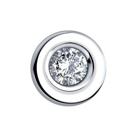 1030343- Подвеска круглая из белого золота 585 пробы с бриллиантом