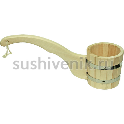 Ковш-черпак бондарный с удлиненной дугообразной ручкой, 1 л