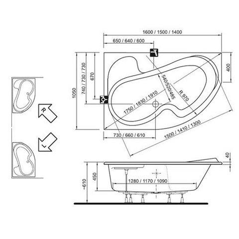 Ванна акриловая Ravak Rosa I 160x105 L CM01000000 схема