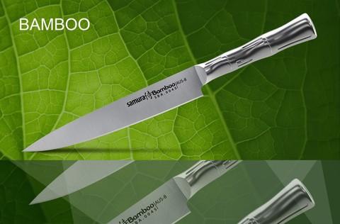 SBA-0045 Нож кухонный стальной для нарезки, слайсер SAMURA BAMBOO