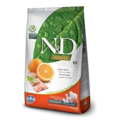 12 кг. FARMINA N&D Prime Сухой беззерновой корм для взрослых собак с рыбой и апельсином Adult Fish&Orange