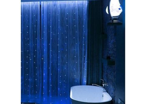 Гирлянда Штора на проволоке Капля росы 3 х 2 м 320 LED белый, теплый, синий, мультик