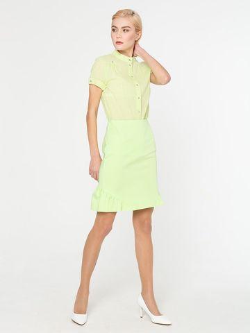 Фото салатовая летняя блузка с короткими рукавами и круглым воротником - Блуза Г538-182 (1)