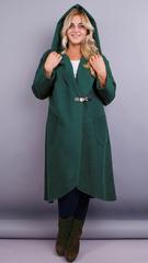 Сарена. Жіноче пальто-кардиган великих розмірів. Смарагд.