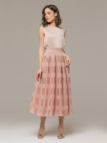 Женская юбка светло-розового цвета из вискозы - фото 1