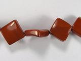 Бусина из яшмы красной, фигурная, 16x16 мм (квадрат, гладкая)