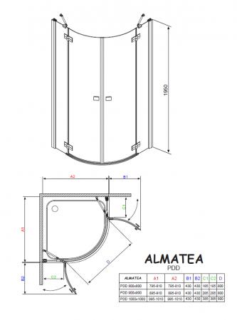 Душевой угол RADAWAY Almatea PDD 90 30502-01-01N