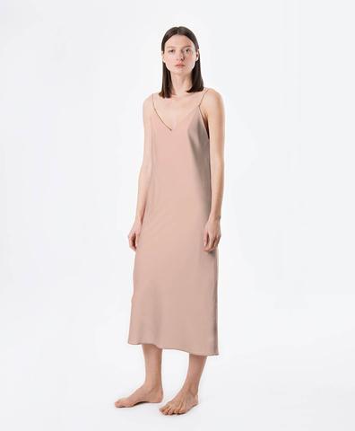 Платье комбинация пудровое