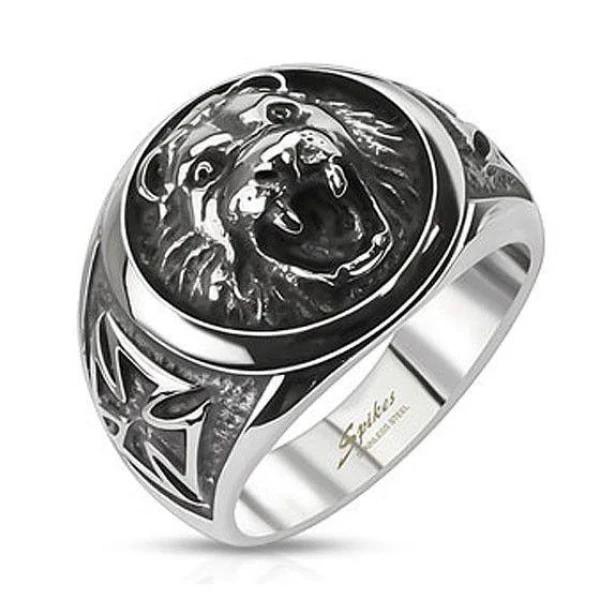 Стильный и солидный мужской перстень с головой льва и мальтийскими крестами из нержавеющей ювелирной медицинской хирургической стали 316L с чернением SPIKES R-Q8041