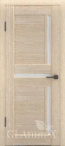Дверь GreenLine X-16 Atum, стекло белое, цвет капучино, остекленная