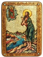 Инкрустированная икона Преподобный Алексий, человек Божий 29х21см на натуральном дереве в подарочной коробке