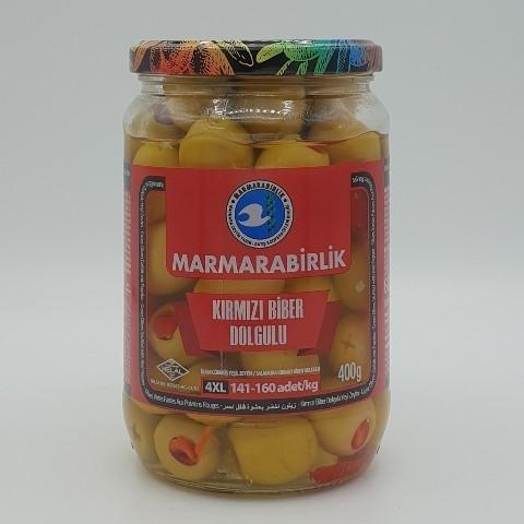 Оливки фаршированные перцем (4XL) MARMARABIRLIK, 400 гр