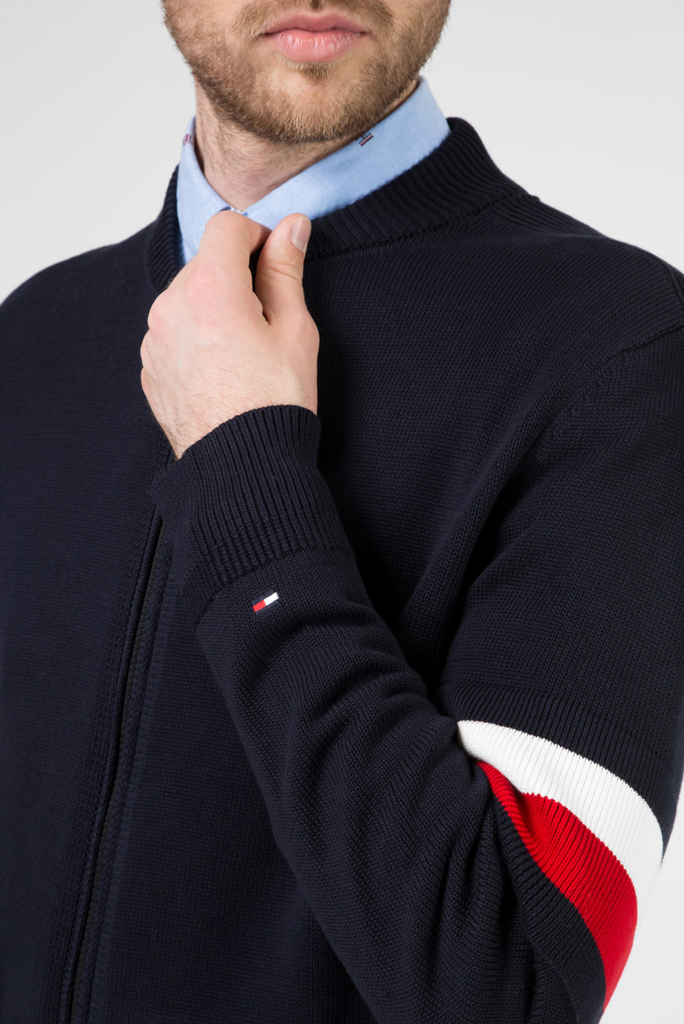 Мужской темно-синий кардиган SLEEVE BRANDED BASEBALL ZIP THRU Tommy Hilfiger