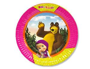 Тарелка Маша и Медведь 23см 6шт
