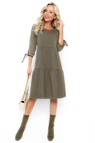 """<p>Платье """"Супер Альба"""" в стиле CASUAL уникальная новинка осеннего сезона 2021. Платье с воланами &nbsp;помогает корректировать фигуру, умело скрывая мелкие недостатки и предъявляя достоинства. Воланы делают Ваш образ милым и непринужденным. Рукав 3/4 с завязками. (Длины: 46-48=102см; 50-52=103см)</p>"""