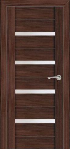 Дверь 2/15  белое стекло (африканский орех, остекленная экошпон), фабрика Ладора