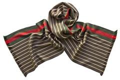 Шарф из шелка и шерсти коричнево-бежевый полосатый 01881