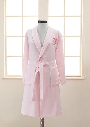 Женский махрово-вафельный халат ANEMONE розовый