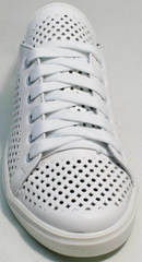 Модные белые кеды женские натуральная кожа летние ZiKo KPP2 Wite.