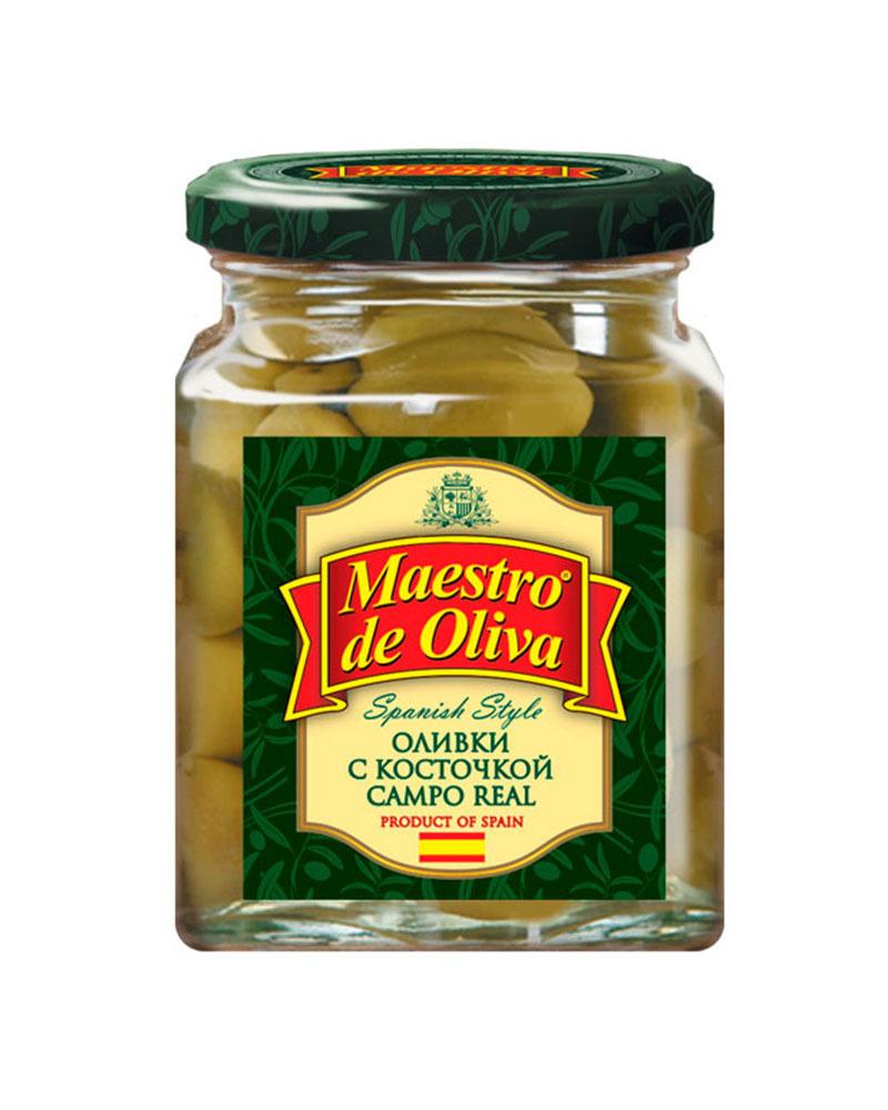 Оливки Маэстро дэ Олива Campo real с Косточкой 270 гр,