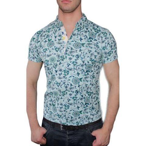 Мужская футболка ETRO голубая с принтом 2