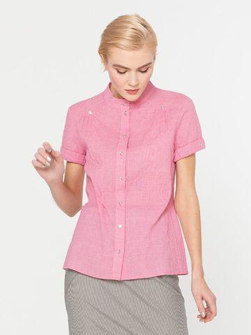 Фото розовая блузка с отрезной кокеткой и короткими рукавами - Блуза Г538-323 (1)