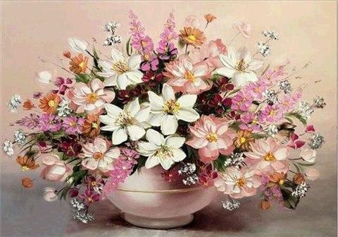 Алмазная Мозаика 30x40 Большой розовый букет в вазе