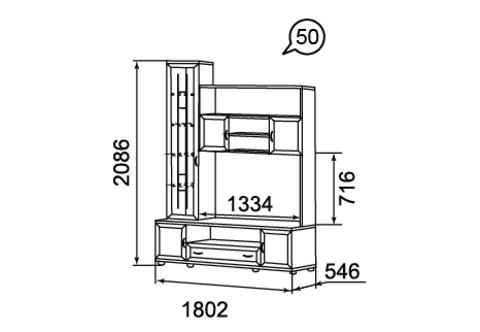 Шкаф-стеллаж комбинированный Ника-Люкс 50 Ижмебель дуб бодега