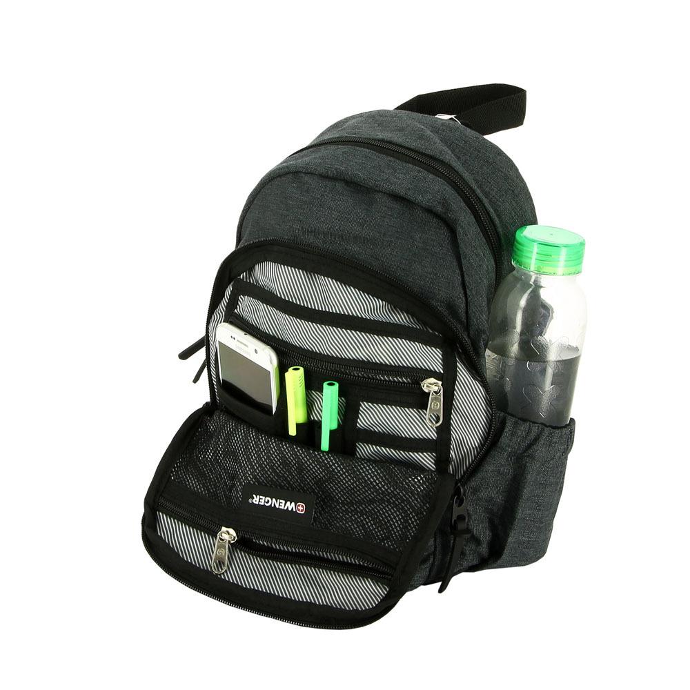 Рюкзак WENGER с одним плечевым ремнём, цвет тёмно-серый, 12 л., 35х25x14 см. (2608424521) - Wenger-Victorinox.Ru