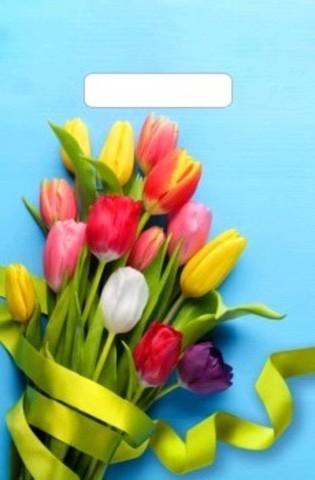 Пакеты полиэтиленовые с неусиленной ручкой 20х30 (30)Тюльпаны на голубом