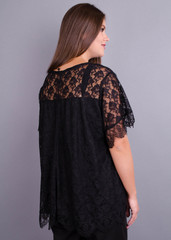 Квітка. Гіпюрова блуза size plus. Чорний.
