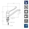Смеситель для раковины с поворотным изливом и медицинской ручкой VULCANO 6999MED - фото №2