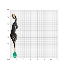731954 - Подвеска Черная Пантера из золота с агатами и фианитами