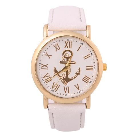 Часы в морском стиле с золотым якорем римские (белый)
