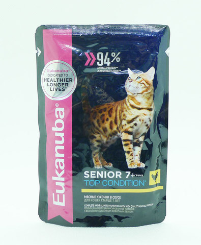 Eukanuba Cat пауч для кошек старше 7 лет (с курицей в соусе) 85 г