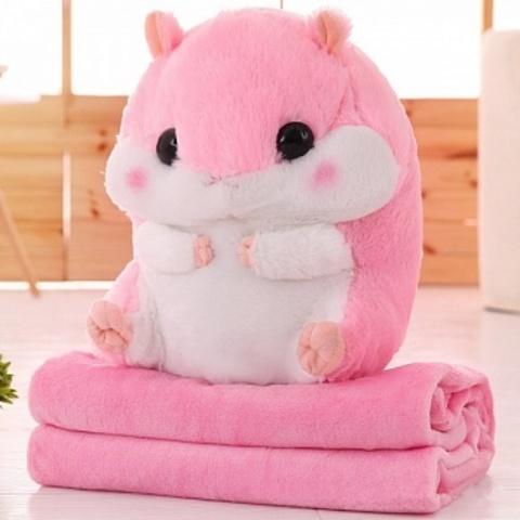 Игрушка Хомяк с пледом 3 в 1 (хомяк-подушка) Розовый