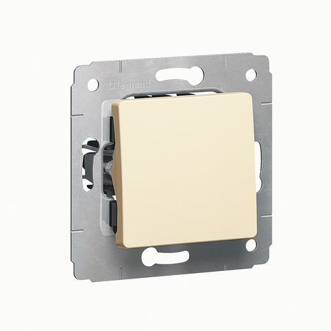Выключатель одноклавишный без фиксации кнопка звонка - 10 AX - 250 В~. Цвет Cлоновая кость. Legrand Cariva (Легранд Карива). 773711