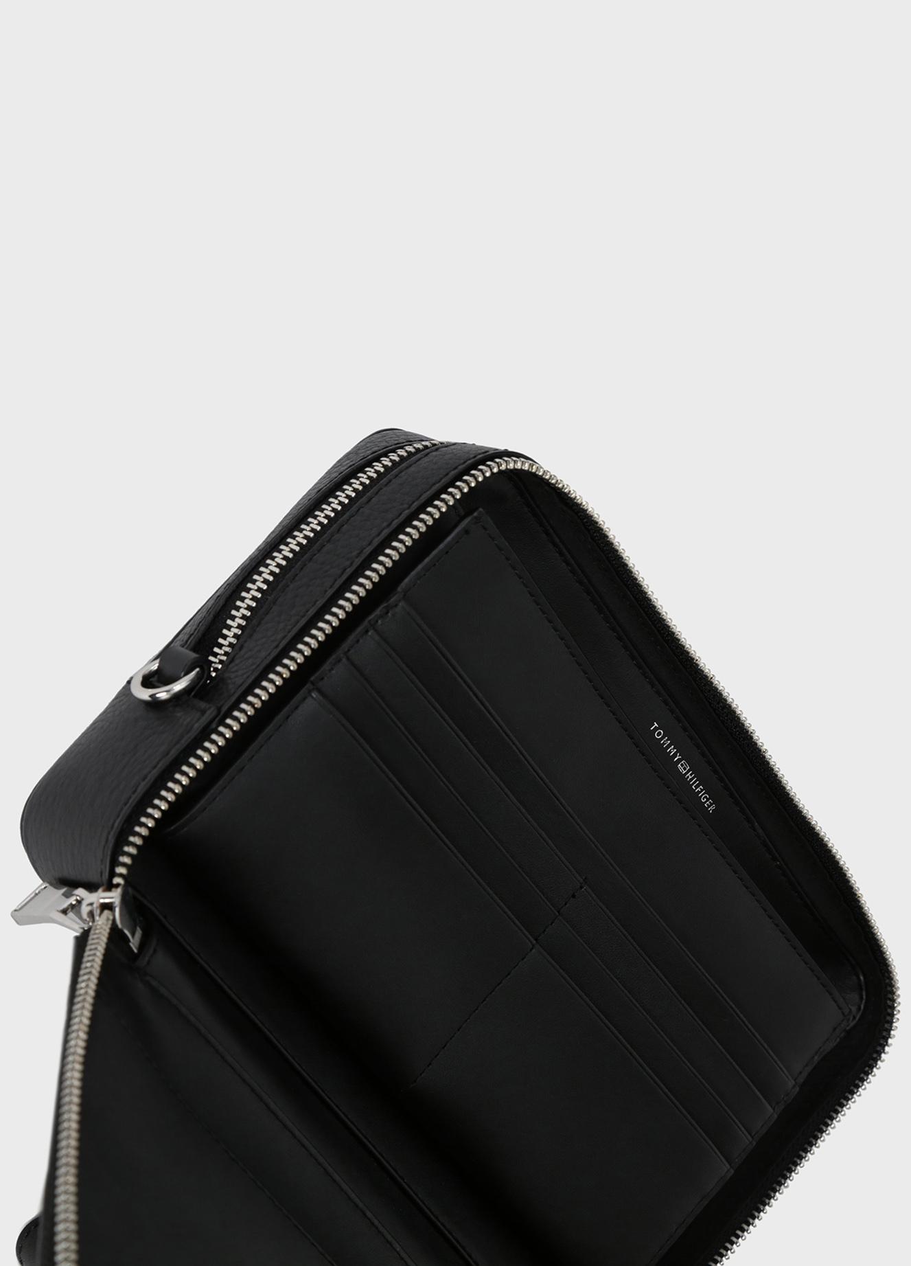 Мужской черный кожаный несессер CORPORATE LEATHER MONEY BAG Tommy Hilfiger