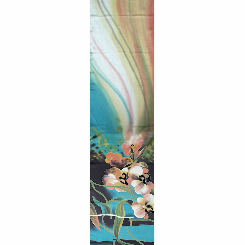 Шелковый шарф батик Орхидеи Бирюза