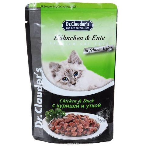 Dr. Clauder's Консервы для кошек с курицей и уткой в желе (пауч)