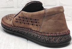 Модние туфли слипоны мужские кожаные стиль смарт кэжуал летние Luciano Bellini 91737-S-307 Coffee.