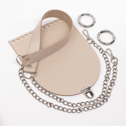 """Комплект для сумочки Орео """"Кремовый"""" Ручка с цепочкой и замок """"Круг микро"""""""