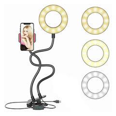 Кольцевая светодиодная селфи лампа с держателем для смартфона