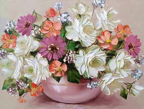 Алмазная Мозаика 30x40 Бело-розовый букет в широкой вазе