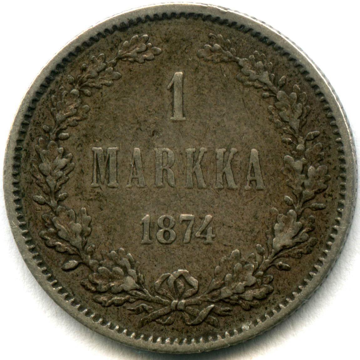 1 марка 1874 года. (S). VF. (Россия для Финляндии)