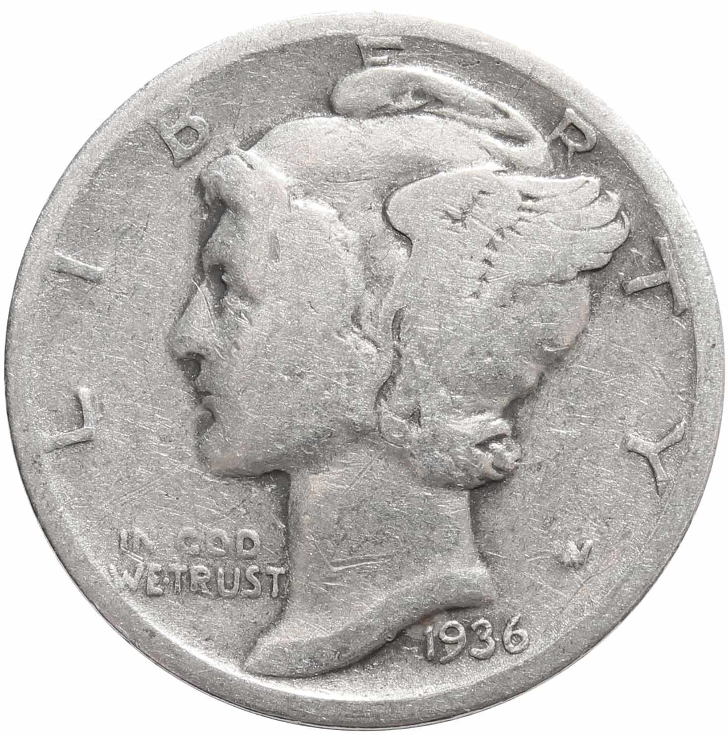 1 дайм (10 центов) 1936. США F- (Меркурий) Серебро