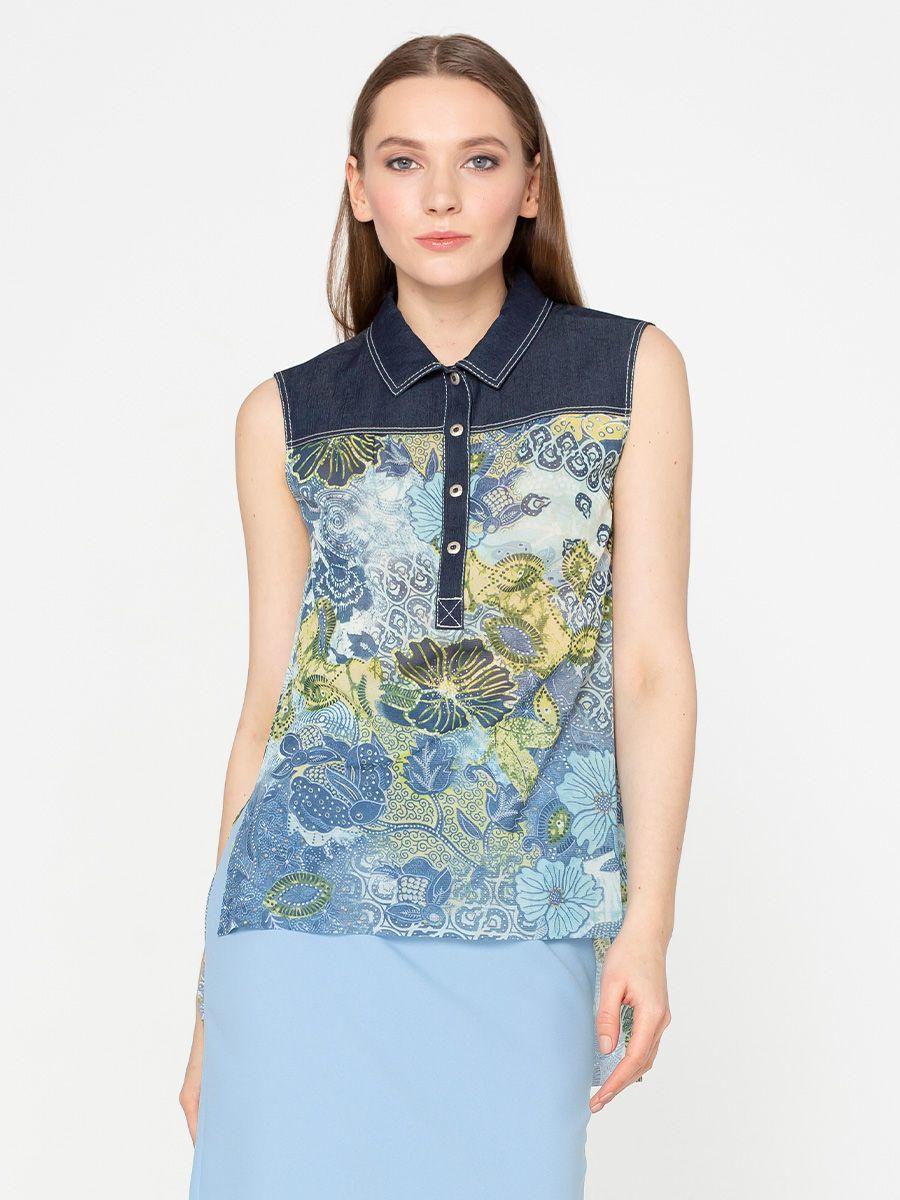 Блуза Г587-263 - Блуза без рукавов из мягкого, слегка прозрачного, шифона. Отложной воротник, планка и кокетка из джинсовой ткани-компаньона. Спинка удлиненна. Комфортная и стильная модель в стиле Casual будет отлично смотреться с джинсами, шортами и юбками.