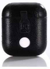 Чехол на AirPods (черный) экокожа