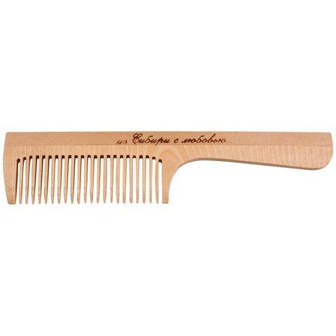 Расчёска с ручкой деревянная, частый зуб