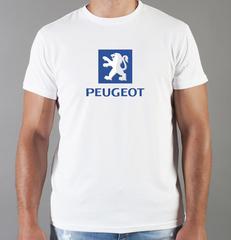 Футболка с принтом Пежо (Peugeot) белая 006